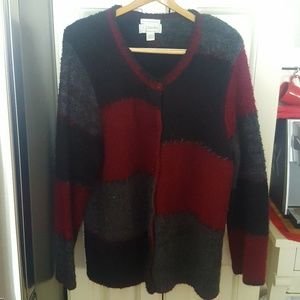 Mohair Blend Color Block Hand Embroidered Sweater